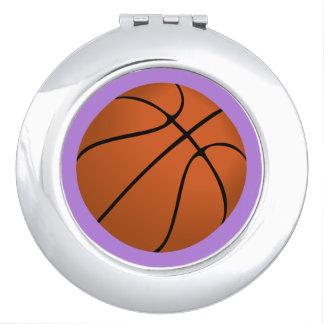 Brown Basketball Ball on Lavender Purple Travel Mirror