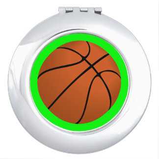 Brown Basketball Ball on Lime Green Compact Mirror