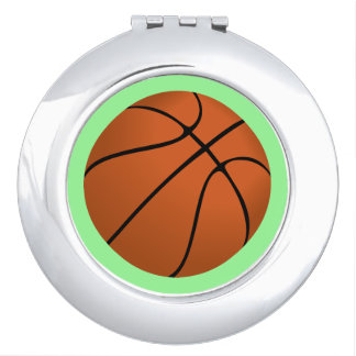 Brown Basketball Ball on Mint Green Vanity Mirror
