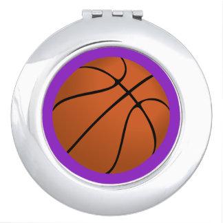 Brown Basketball Ball on Purple Compact Mirrors