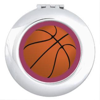Brown Basketball Ball on Sangria Pink Compact Mirror