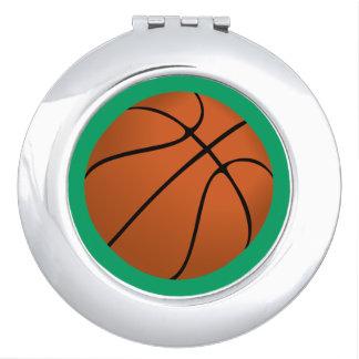 Brown Basketball Ball on Shamrock Green Compact Mirror