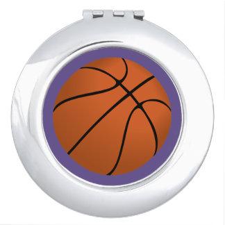Brown Basketball Ball on Ultra Violet Purple Makeup Mirror