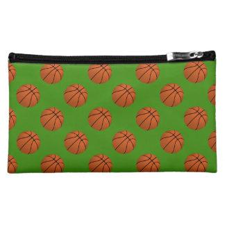 Brown Basketball Balls on Apple Green Makeup Bag