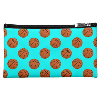 Brown Basketball Balls on Aqua Blue Cosmetic Bag
