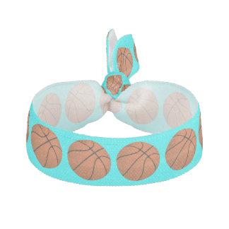 Brown Basketball Balls on Aqua Blue Hair Tie