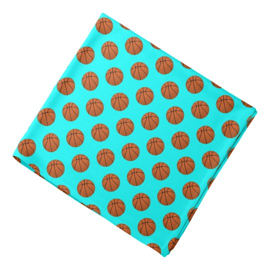 Brown Basketball Balls on Aqua Blue Head Kerchief