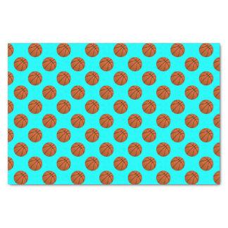 Brown Basketball Balls on Aqua Blue Tissue Paper
