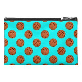 Brown Basketball Balls on Aqua Blue Travel Accessory Bag