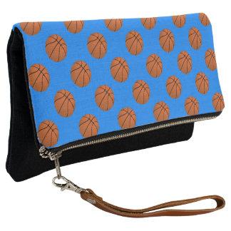 Brown Basketball Balls on Azure Blue Clutch