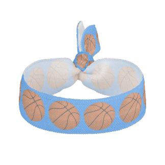 Brown Basketball Balls on Azure Blue Hair Tie