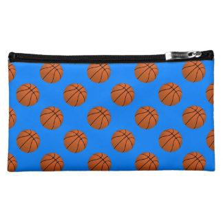 Brown Basketball Balls on Azure Blue Makeup Bag