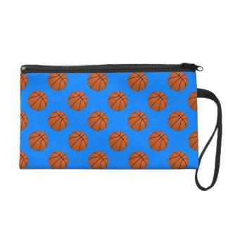 Brown Basketball Balls on Azure Blue Wristlet