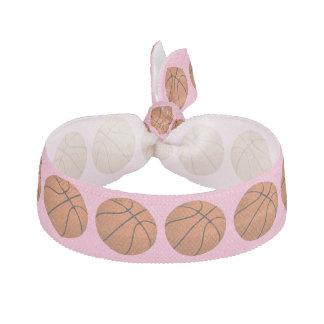 Brown Basketball Balls on Carnation Pink Hair Tie