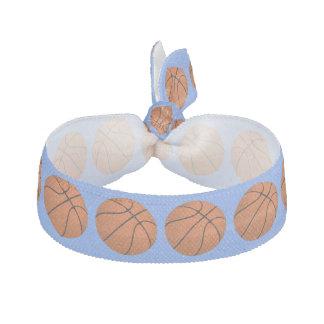 Brown Basketball Balls on Cornflower Blue Hair Tie