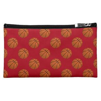 Brown Basketball Balls on Dark Red Cosmetic Bag