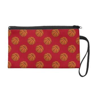 Brown Basketball Balls on Dark Red Wristlet