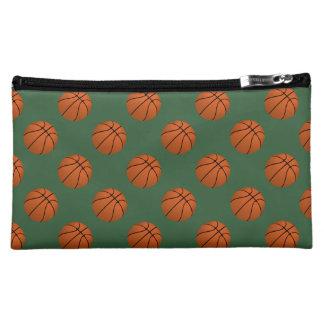 Brown Basketball Balls on Hunter Green Makeup Bag