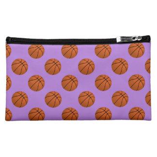 Brown Basketball Balls on Lavender Purple Cosmetic Bag