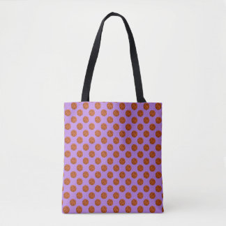 Brown Basketball Balls on Lavender Purple Tote Bag