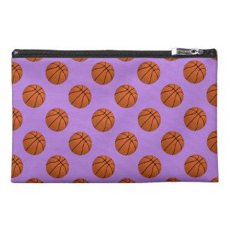 Brown Basketball Balls on Lavender Purple Travel Accessory Bag