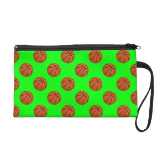 Brown Basketball Balls on Lime Green Wristlet
