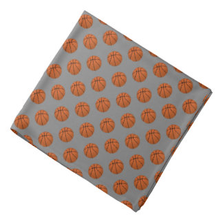 Brown Basketball Balls on Medium Gray Bandana