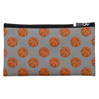 Brown Basketball Balls on Medium Gray Makeup Bag