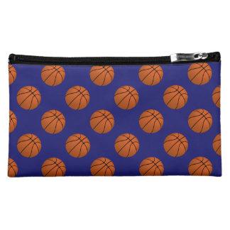 Brown Basketball Balls on Midnight Blue Cosmetic Bag