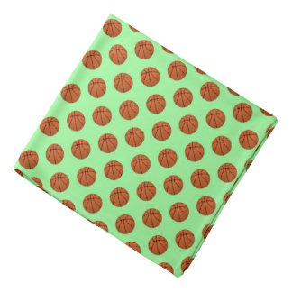 Brown Basketball Balls on Mint Green Bandana