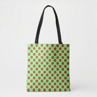 Brown Basketball Balls on Mint Green Tote Bag