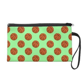 Brown Basketball Balls on Mint Green Wristlet