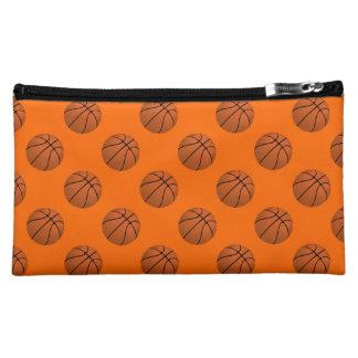 Brown Basketball Balls on Orange Makeup Bag