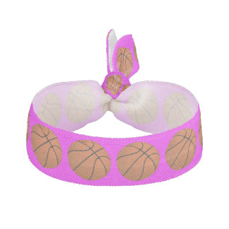 Brown Basketball Balls on Pink Hair Tie