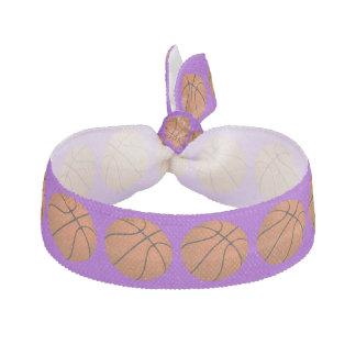 Brown Basketball Balls on Purple Hair Tie