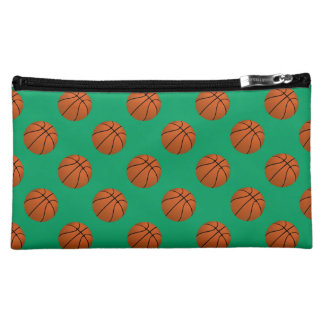 Brown Basketball Balls on Shamrock Green Cosmetic Bag