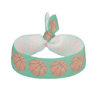Brown Basketball Balls on Shamrock Green Hair Tie