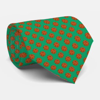 Brown Basketball Balls on Shamrock Green Tie