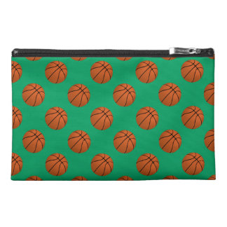 Brown Basketball Balls on Shamrock Green Travel Accessory Bag