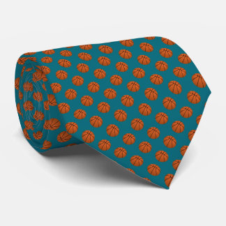 Brown Basketball Balls on Teal Blue Tie
