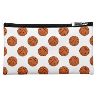 Brown Basketball Balls on White Makeup Bag