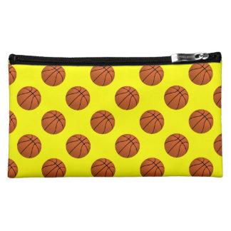 Brown Basketball Balls on Yellow Makeup Bag