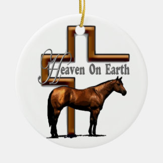 Brown Bay Quarter Horse Ceramic Ornament
