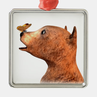 Brown Bear and Butterfly Silver-Colored Square Ornament