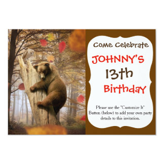 "Brown bear climbing on tree 5"" x 7"" invitation card"