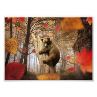 Brown bear climbing on tree art photo