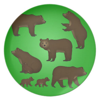 Brown bear dinner plates