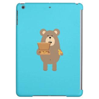 Brown Bear eating Pizza Q1Q iPad Air Cover