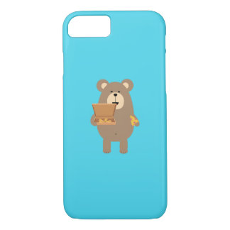 Brown Bear eating Pizza Q1Q iPhone 7 Case