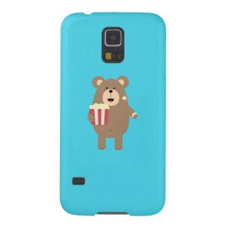 Brown Bear eating popcorn Q1Q Galaxy S5 Cases